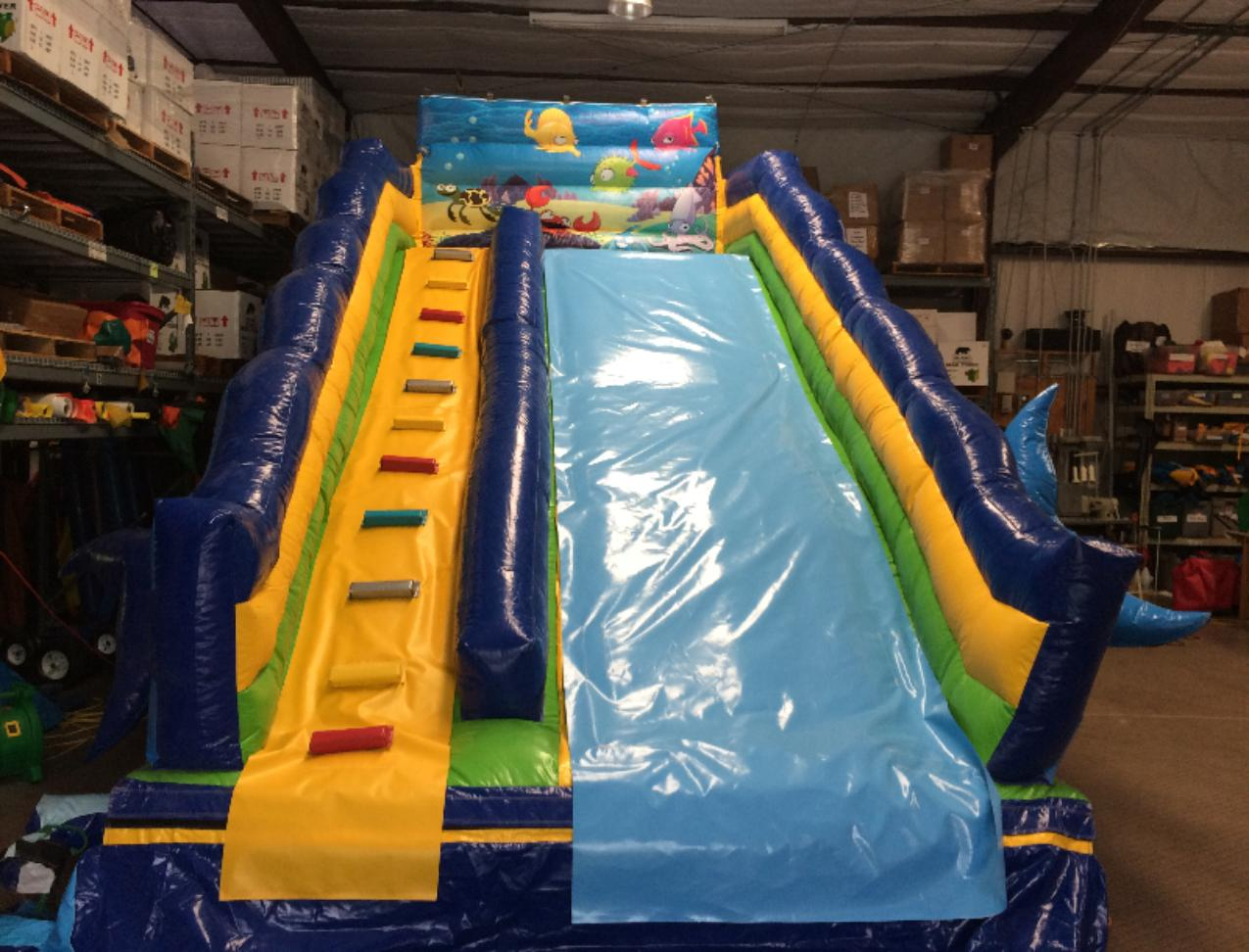 large inflatable slide with ladder